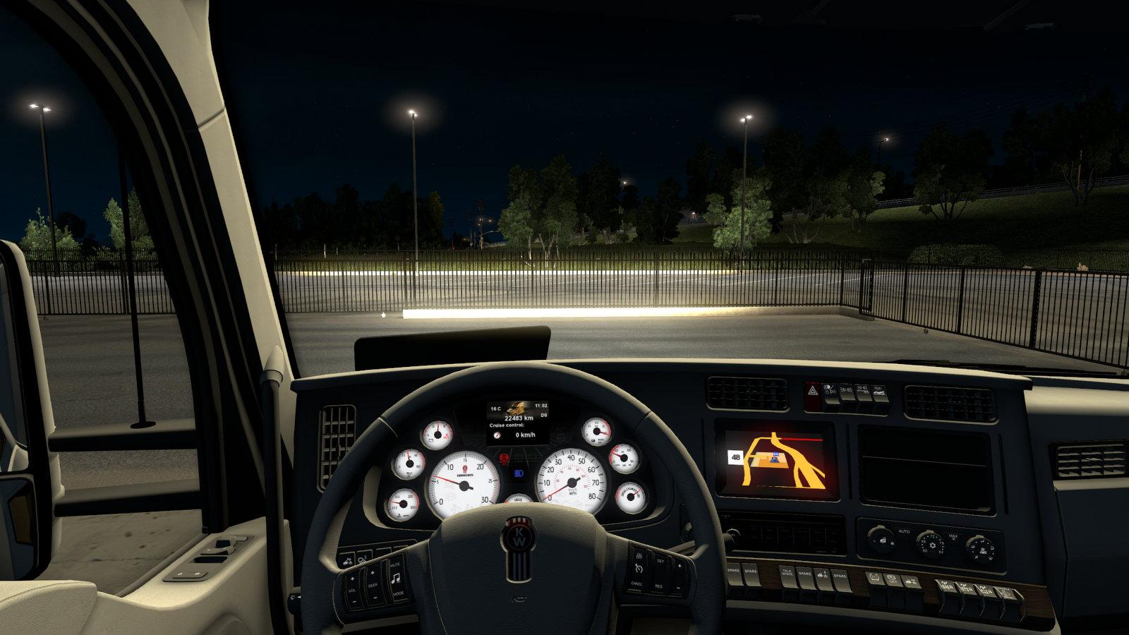 KENWORTH T680 WHITE GAUGES TRUCK + INTERIOR V1.2 For ATS