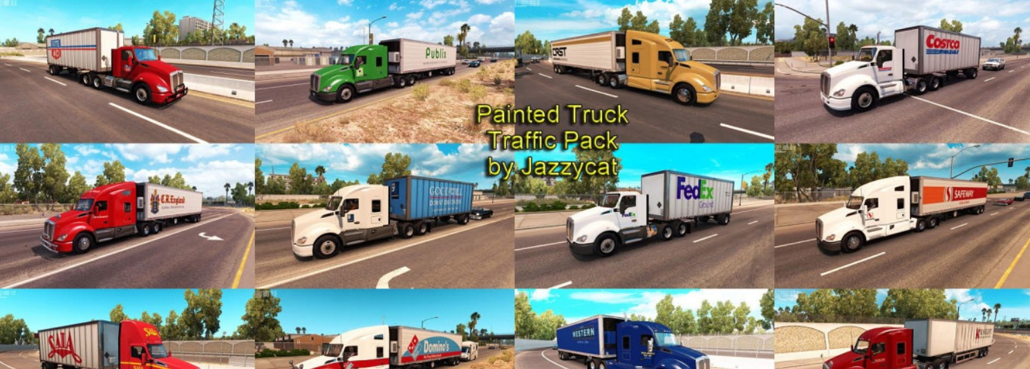 Painted Truck and Trailers Traffic Pack by Jazzycat v 1 4