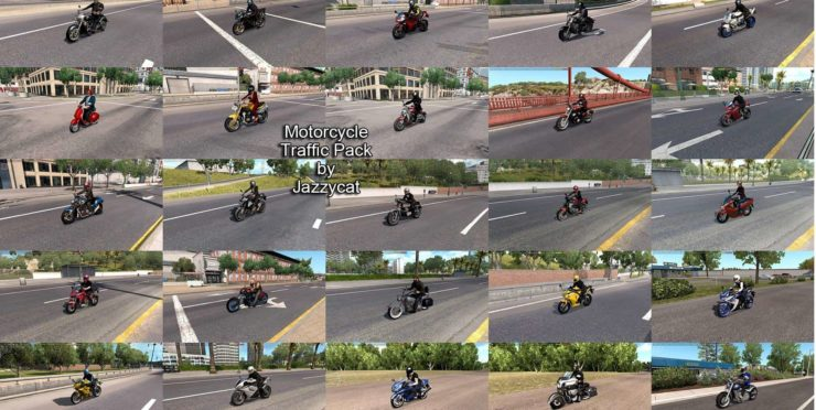 MOTORCYCLE TRAFFIC PACK (ATS) BY JAZZYCAT V3.5 MOD