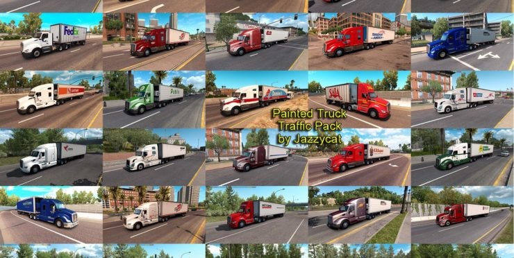 PAINTED TRUCK TRAFFIC PACK BY JAZZYCAT V2 4 Mod - ATS mod
